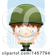 Clipart Of A 3d Grinning White Boy Army Soldier Over Strokes Royalty Free Vector Illustration