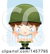 Clipart Of A 3d Mad White Boy Army Soldier Over Strokes Royalty Free Vector Illustration