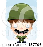 Clipart Of A 3d Happy White Boy Army Soldier Over Strokes Royalty Free Vector Illustration