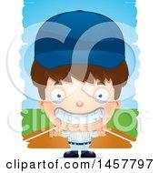 Poster, Art Print Of 3d Grinning White Boy Baseball Player Over Strokes