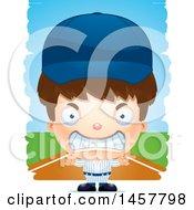 Poster, Art Print Of 3d Mad White Boy Baseball Player Over Strokes