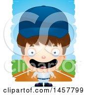 Poster, Art Print Of 3d Happy White Boy Baseball Player Over Strokes