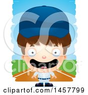 3d Happy White Boy Baseball Player Over Strokes