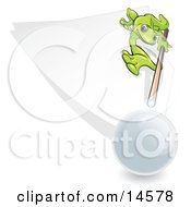 Green Gecko Leaning Forward To Aim At Hitting The Cue Ball While Playing A Game Of Billiards Pool Clipart Illustration