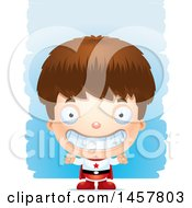 Clipart Of A 3d Grinning White Boy Super Hero Over Strokes Royalty Free Vector Illustration