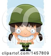 Clipart Of A 3d Grinning Hispanic Girl Army Soldier Over Strokes Royalty Free Vector Illustration