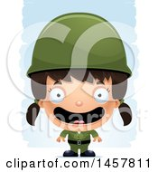 3d Happy Hispanic Girl Army Soldier Over Strokes