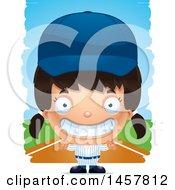 Poster, Art Print Of 3d Grinning Hispanic Girl Baseball Player Over Strokes