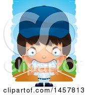 Poster, Art Print Of 3d Mad Hispanic Girl Baseball Player Over Strokes