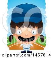 Poster, Art Print Of 3d Happy Hispanic Girl Baseball Player Over Strokes