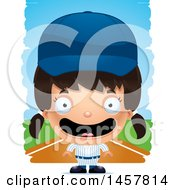 3d Happy Hispanic Girl Baseball Player Over Strokes
