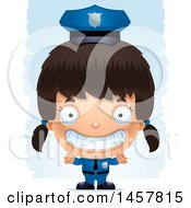 3d Grinning Hispanic Girl Police Officer Over Strokes