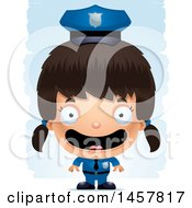 3d Happy Hispanic Girl Police Officer Over Strokes