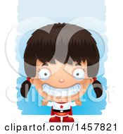 Clipart Of A 3d Grinning Hispanic Girl Super Hero Over Strokes Royalty Free Vector Illustration