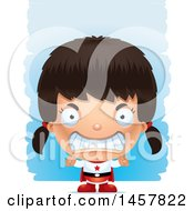 Clipart Of A 3d Mad Hispanic Girl Super Hero Over Strokes Royalty Free Vector Illustration