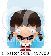 Clipart Of A 3d Happy Hispanic Girl Super Hero Over Strokes Royalty Free Vector Illustration
