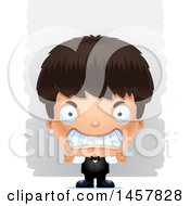 Clipart Of A 3d Mad Hispanic Boy Waiter Over Strokes Royalty Free Vector Illustration