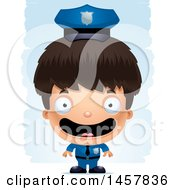 3d Happy Hispanic Boy Police Officer Over Strokes
