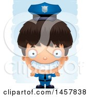 3d Grinning Hispanic Boy Police Officer Over Strokes