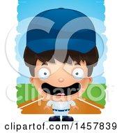 Poster, Art Print Of 3d Happy Hispanic Boy Baseball Player Over Strokes