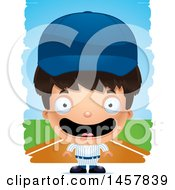 Clipart Of A 3d Happy Hispanic Boy Baseball Player Over Strokes Royalty Free Vector Illustration by Cory Thoman