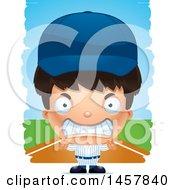 Poster, Art Print Of 3d Mad Hispanic Boy Baseball Player Over Strokes