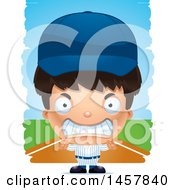 Clipart Of A 3d Mad Hispanic Boy Baseball Player Over Strokes Royalty Free Vector Illustration