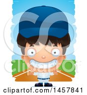 Clipart Of A 3d Grinning Hispanic Boy Baseball Player Over Strokes Royalty Free Vector Illustration