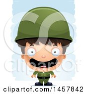 Clipart Of A 3d Happy Hispanic Boy Army Soldier Over Strokes Royalty Free Vector Illustration