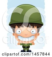 Clipart Of A 3d Grinning Hispanic Boy Army Soldier Over Strokes Royalty Free Vector Illustration