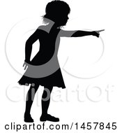 Clipart Of A Black Silhouetted Girl Pointing Royalty Free Vector Illustration