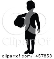 Poster, Art Print Of Black Silhouetted Boy Holding A Ball