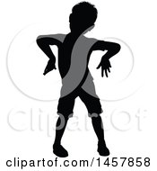 Clipart Of A Black Silhouetted Boy Posing Like A Zombie Royalty Free Vector Illustration by AtStockIllustration