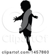 Black Silhouetted Boy Running