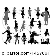 Black Silhouetted Girls And Boys