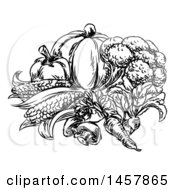 Clipart Of A Sketched Black And White Group Of Vegetables Royalty Free Vector Illustration