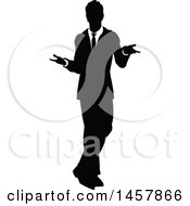 Black And White Silhouetted Business Man Shrugging