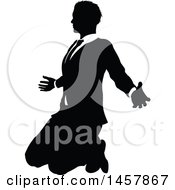 Clipart Of A Black And White Silhouetted Business Man Kneeling Royalty Free Vector Illustration