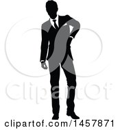 Black And White Silhouetted Business Man