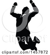 Black And White Silhouetted Business Man Jumping