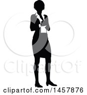 Clipart Of A Black And White Silhouetted Business Woman Royalty Free Vector Illustration