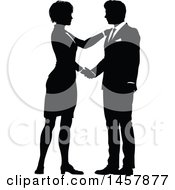 Clipart Of A Black And White Silhouetted Business Man And Woman Shaking Hands Royalty Free Vector Illustration by AtStockIllustration