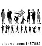 Poster, Art Print Of Black And White Silhouetted Business People