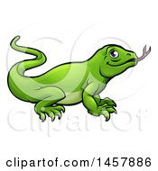 Clipart Of A Cartoon Green Komodo Dragon Lizard Royalty Free Vector Illustration