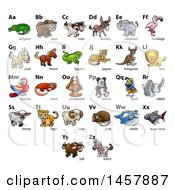 Clipart Of A Chart Of Alphabet Letters With Animals Royalty Free Vector Illustration