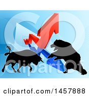 Silhouetted Bear Vs Bull Stock Market Design With Arrows Over A Graph