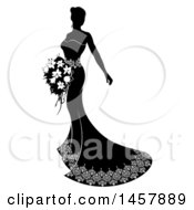 Clipart Of A Silhouetted Black And White Bride Holding A Bouquet Royalty Free Vector Illustration