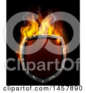 Clipart Of A 3d Fiery Hot Shield On Black Royalty Free Vector Illustration