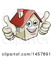 Cartoon Happy White Home Mascot Character Giving Two Thumbs Up