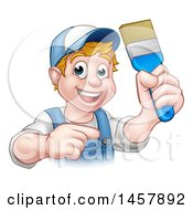 Cartoon Happy White Male Painter Holding Up A Brush And Pointing